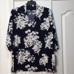 Rafaella 2x navy white bling tunic floral NWT